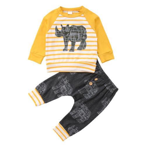 Rhinocéros Animal 2 Pcs Nouveau-Né Enfant Bébé Garçon Fille Top T-shirt + Pantalon Vêtements Ensemble Taille 0-24 M