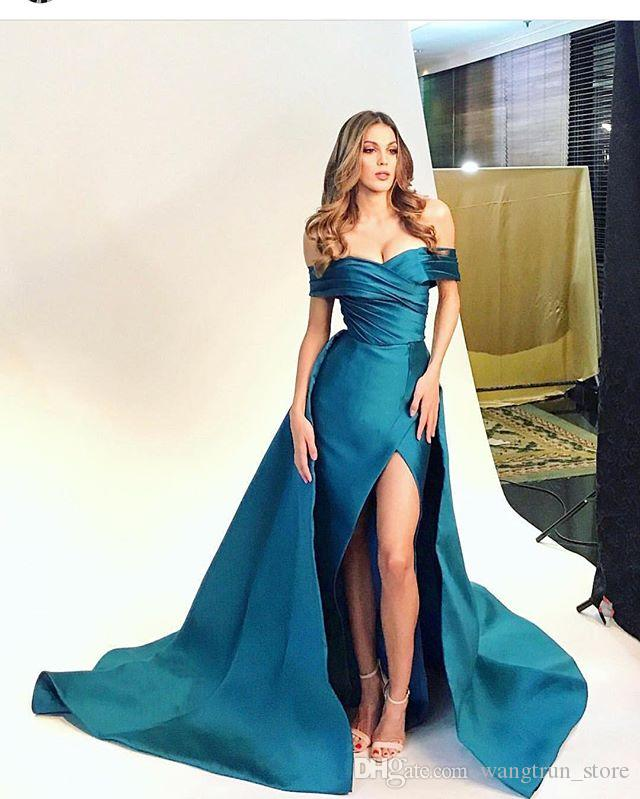 90176f83a19a2 Off Shoulder Sexy Evening Dresses Prom Gowns Detachable Skirt Pleated Hi Lo  Mermaid Evening Gowns For Prom Party Truworths Evening Dresses Arabic ...