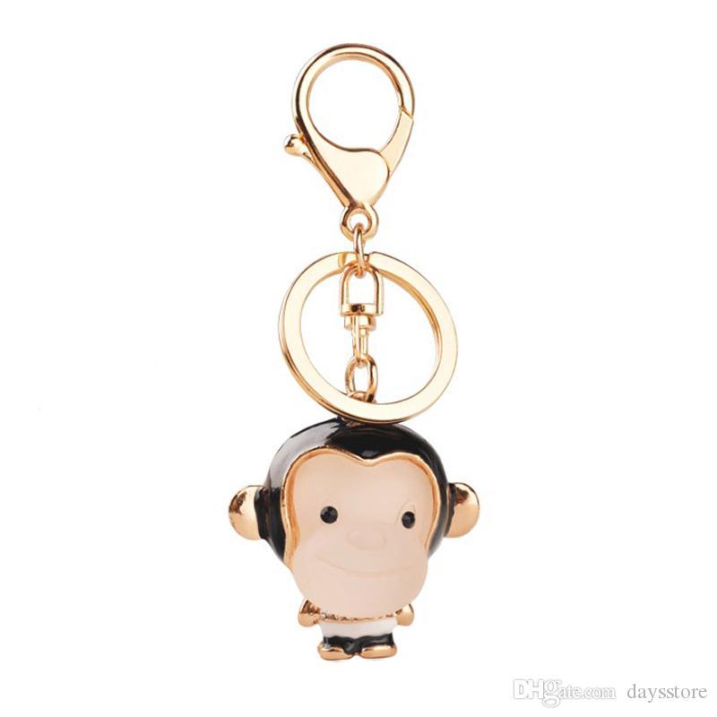 Cute Resin Monkey Charm Keychains Novelty Item Rhinestone Enamel Gold Color Keyrings Keyholder Jewelry For Women Men