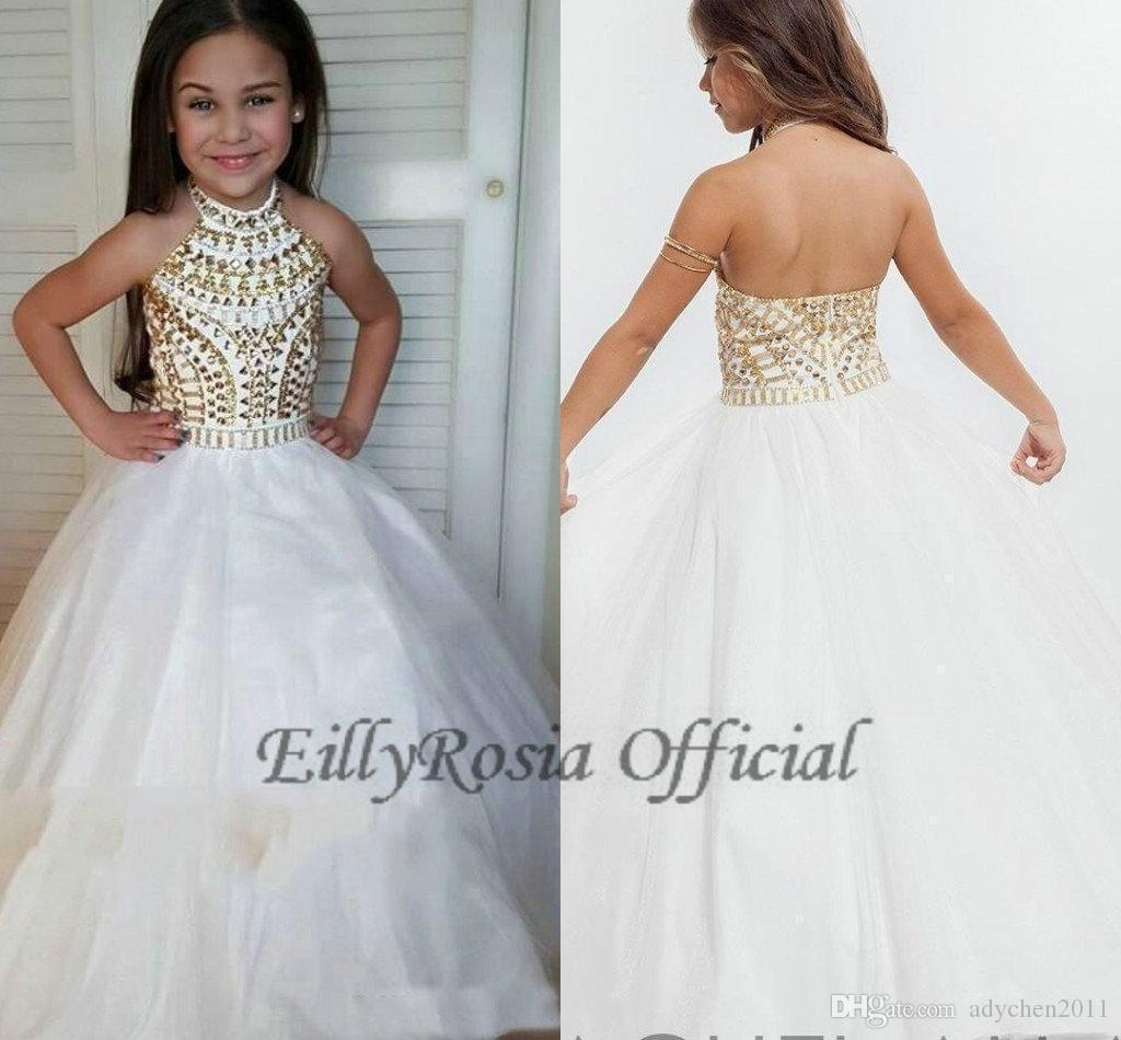 Gold and White Flower Girls Dresses for Prom Beading Sparkly Halter A Line Sweet Kids Evening Gowns for Weddings Custom Made Free Shipping