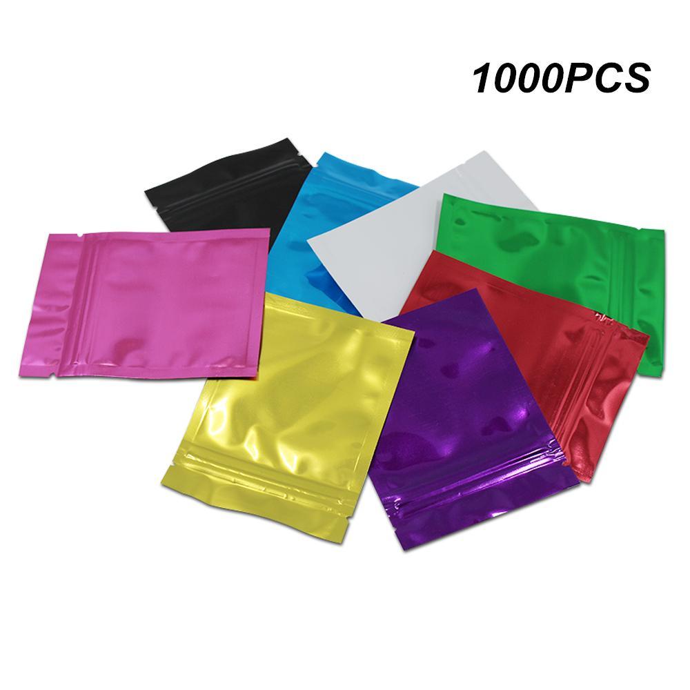 10x15cm 1000 pièces colorées en aluminium réutilisables feuille alimentaire Sacs de rangement d'emballage pour Café Thé Bonbons Foil Zipper Mylar refermable Paquet Pochette