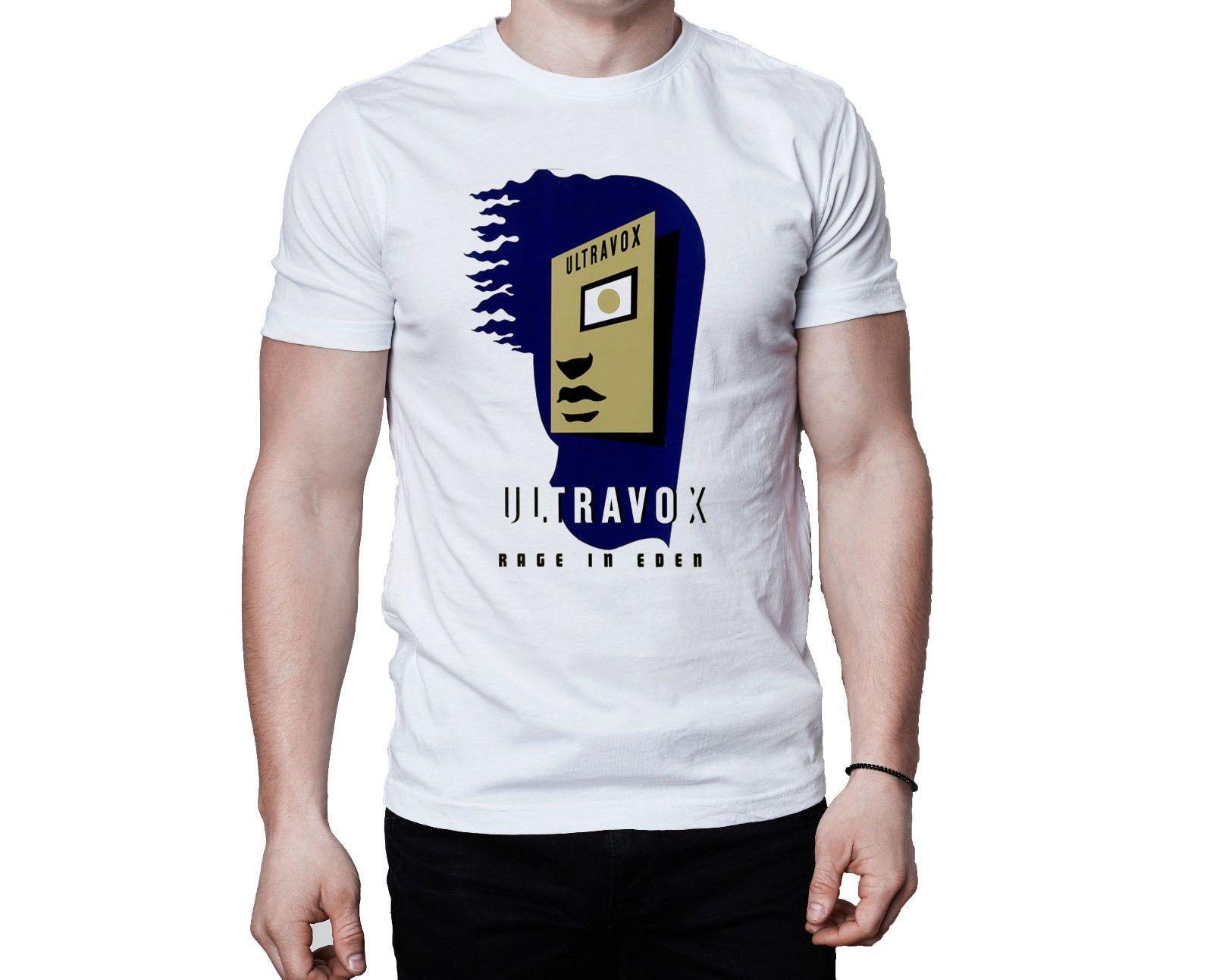 Ultravox Rage In Eden 1981 Cubierta de álbum Camiseta Hombres impresos Camiseta Ropa Top camiseta Verano Hombres Ropa O - Cuello Camisetas