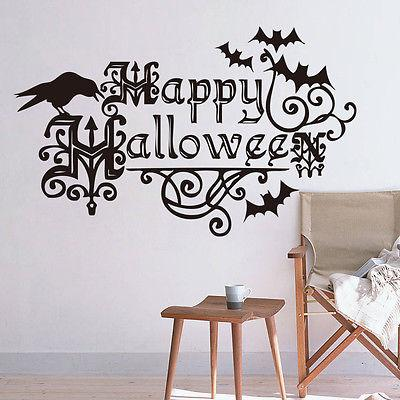 Happy Halloween Words Wall Sticker Removable Home Party Decor Art Vinyl Quote Window Decal