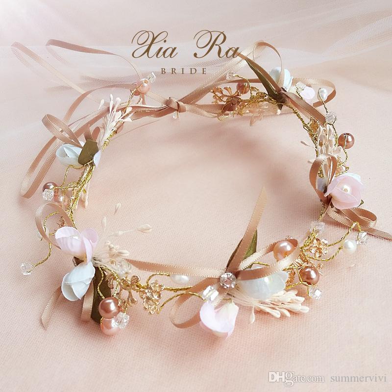 Свадебный цветок корона ручной работы девушки красочные жемчуг стразы принцесса венок бутик дети ленты Луки свадебные аксессуары для волос YA0329