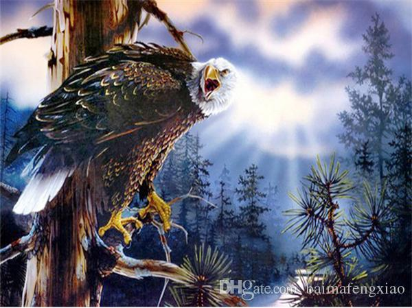 Strass rodada completa diamantes bordados animais águia pôr do sol diy diamante pintura ponto cruz kit casa decoração de mosaico yx4240