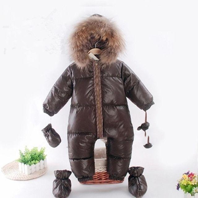 Inverno Macacões Bebê Brasão Duck Down Jumpsuit Snowsuit Casacos Boy Quente Romper Neve Roupa infantil roupa menina Parka Pele Outfit