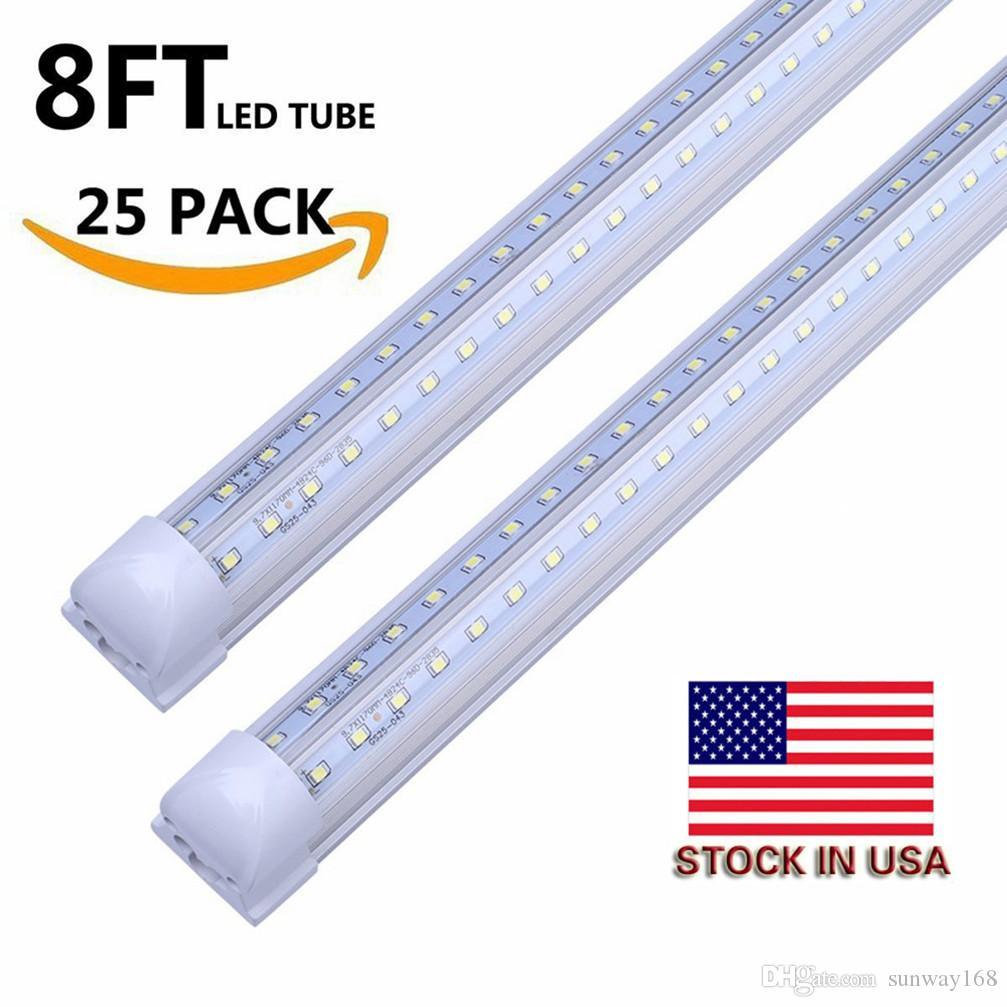 US Stock+Integrated Led Tubes V-Shaped 4ft 5ft 6ft 8ft Cooler Door Led Tubes T8 Double Sides SMD2835 Led shop Lights AC 85-265V