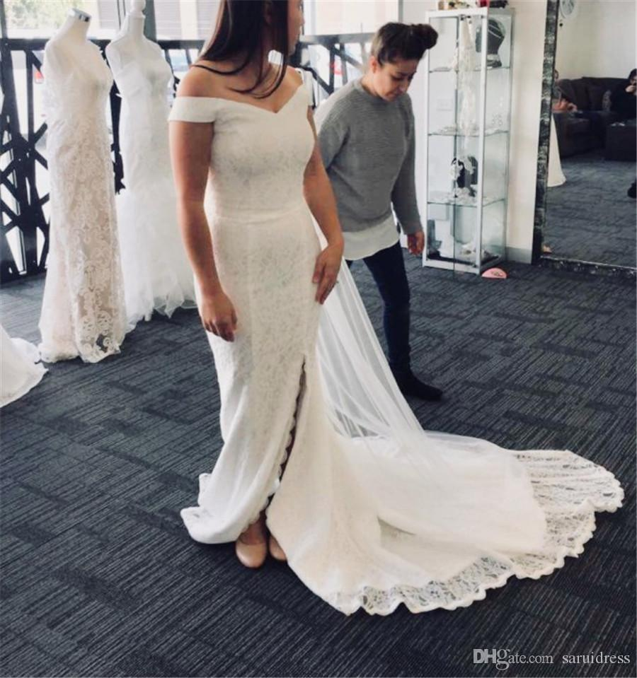 Fit And Flare Design Off The Shoulder Cut With Boning French Lace Wedding Dress French Lace Mermaid Bridal Dress