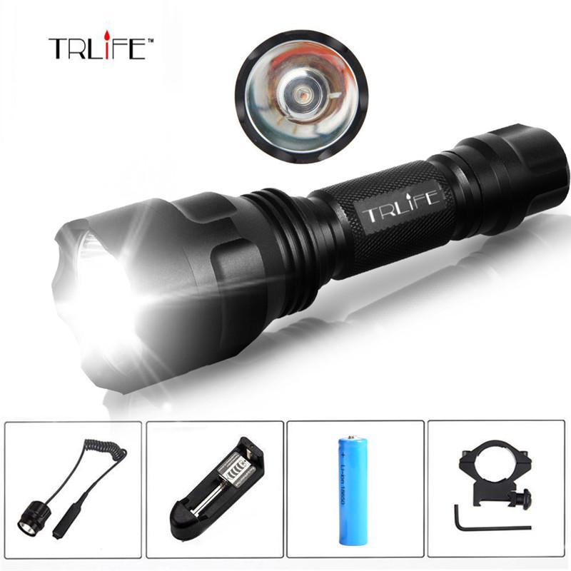 Linterna LED Flashlight T6/L2 8000LM Tactical Flashlight Aluminum Hunting Flash Light Torch Lamp +18650+Charger+Gun Mount