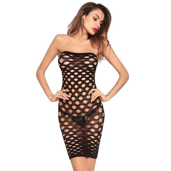 Atacado-2018 Ladies Sexy Lingerie Preto Tubo Sexy Top Fishnet Oco Paneling Saia Curta vestido doce das mulheres