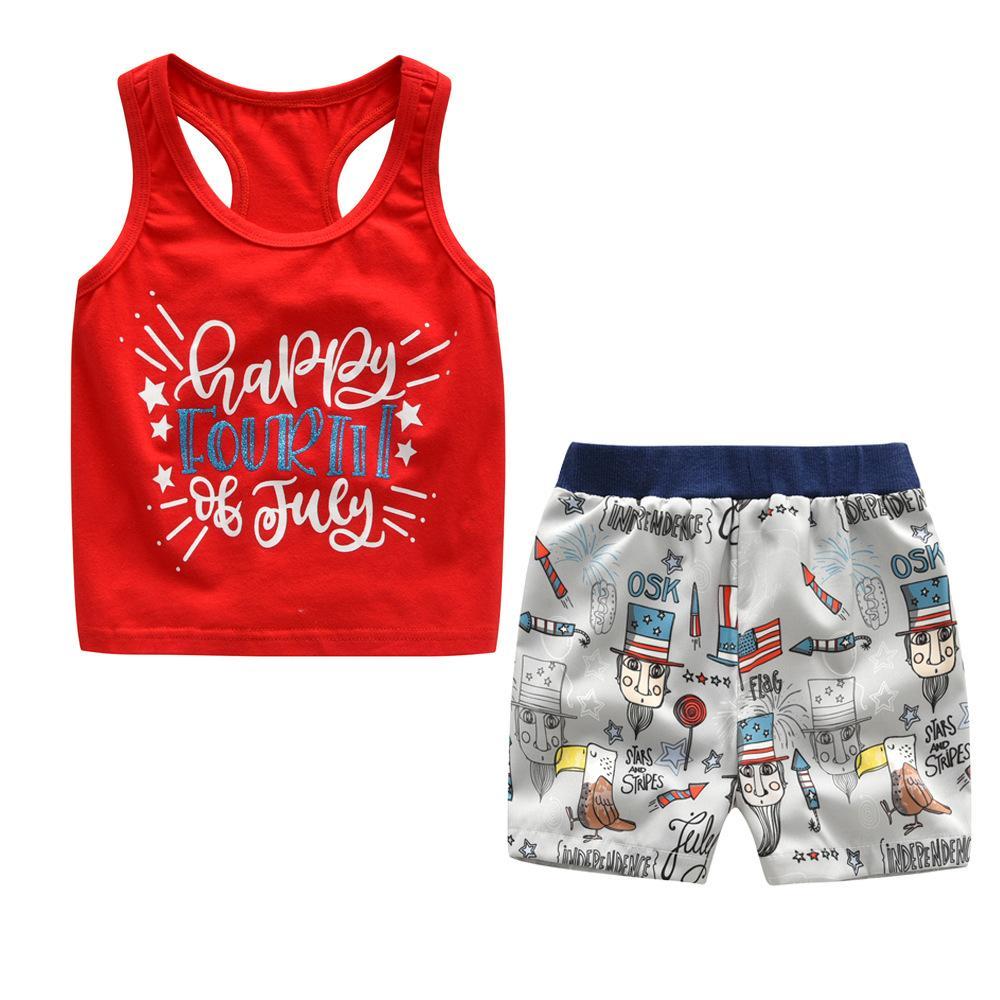 Neonato Neonato Set di vestiti Bambino RED Suit 85% cotone O Neck Vest stampato shorts bicolore Childrens Baby Infant boy Outifit