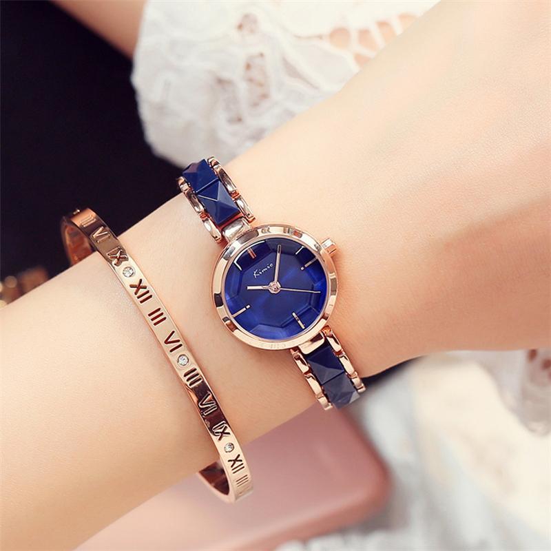 Frauen-keramische Armband-Uhr-einfache tiefe blaue Armbanduhr-Damen-beiläufiges Kleid passt Uhr auf