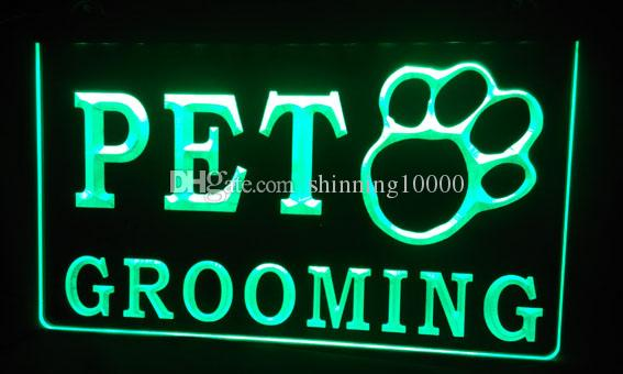 LS135-g OPEN PET GROOMING Shop Dog Cat 3D LED Neon Light Sign Customize on Demand 8 colors to choose