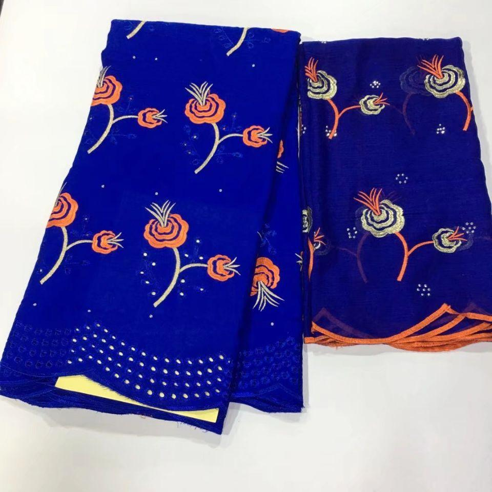 5Yards Beautiful royal blue african mesh cotton fabric embroidery and 2Yards flowers scarf french net lace set for dress HS5-5