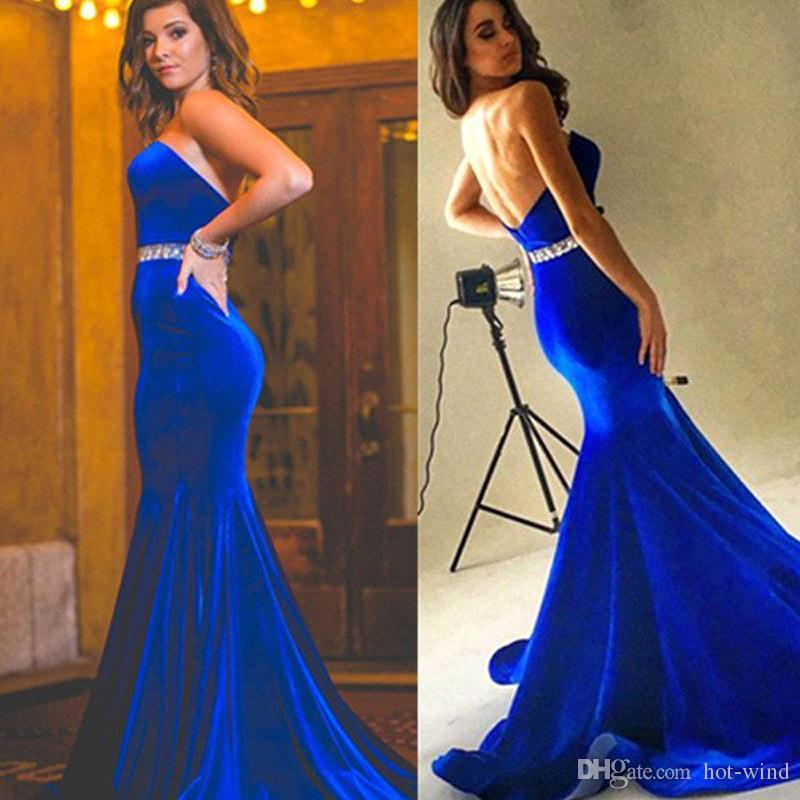2018 Royal Blue Velvet Mermaid Prom Dresses Strapless Sexy Backless Long Evening Party Gowns with Crystals Beaded Belt Special Occasion Wear