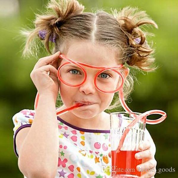 الإبداعية القش نظارات حية الشرب القش مضحك الاطفال الملونة لينة البلاستيك نظارات diy القش هالوين الحزب القش