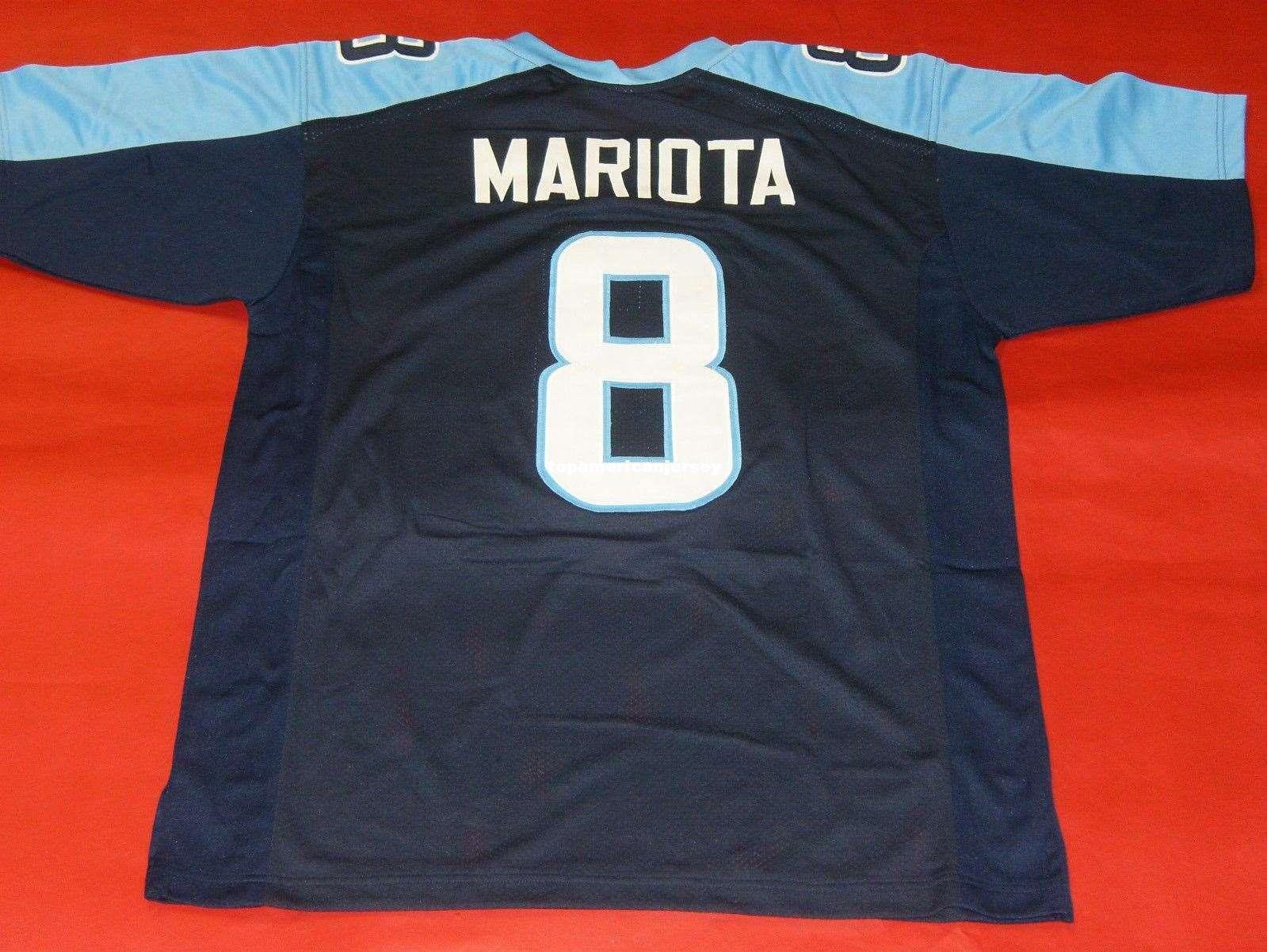 Barato retro # 8 MARCUS MARIOTA CUSTOM MITCHELL NESS Jersey bule para hombre Top de costura S-5XL, 6XL camisetas de fútbol Correr