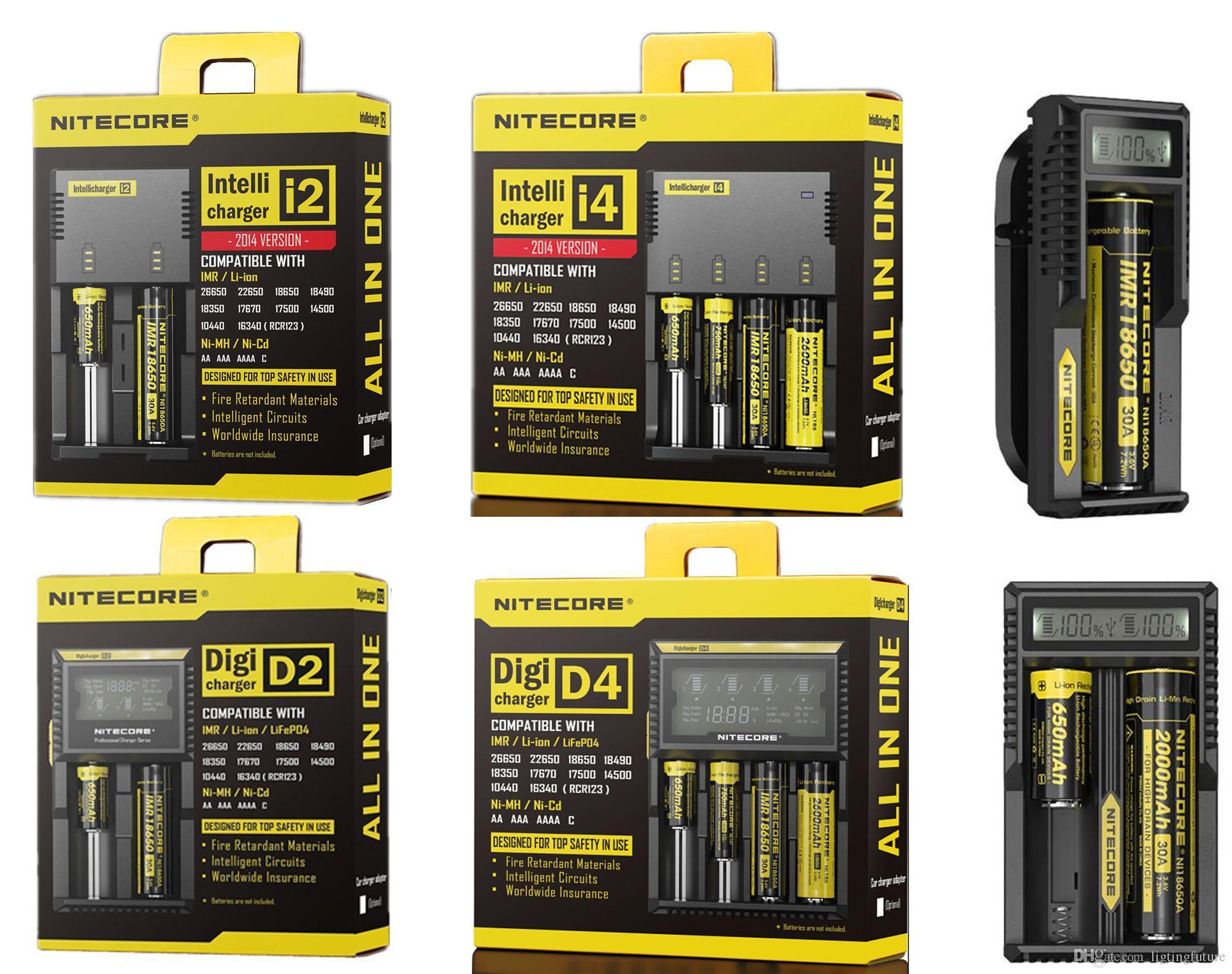 Genuíno Nitecore D2 D4 UM10 UM20 Nova I2 I4 Digi Charger Intellicharger Display LCD E Cigarros Carregador para 18650 18350 18500 14500 Bateria