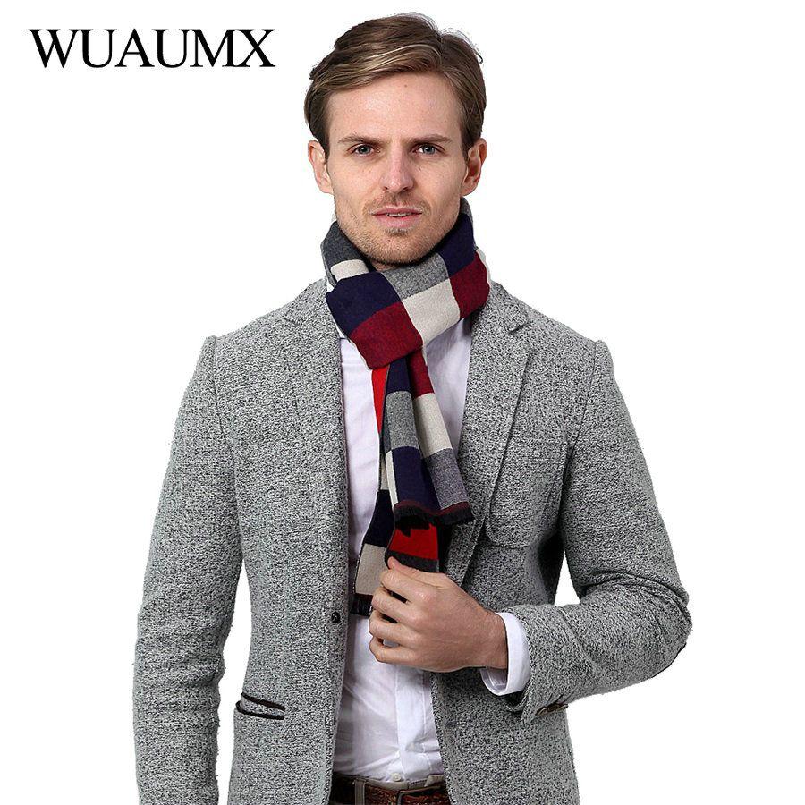 wholesale Vintage Autumn Winter Scarf Men Casual Scarves Male thick Warm Muffler Soft Plaid Shawls High Quality echarpe homme 180cm