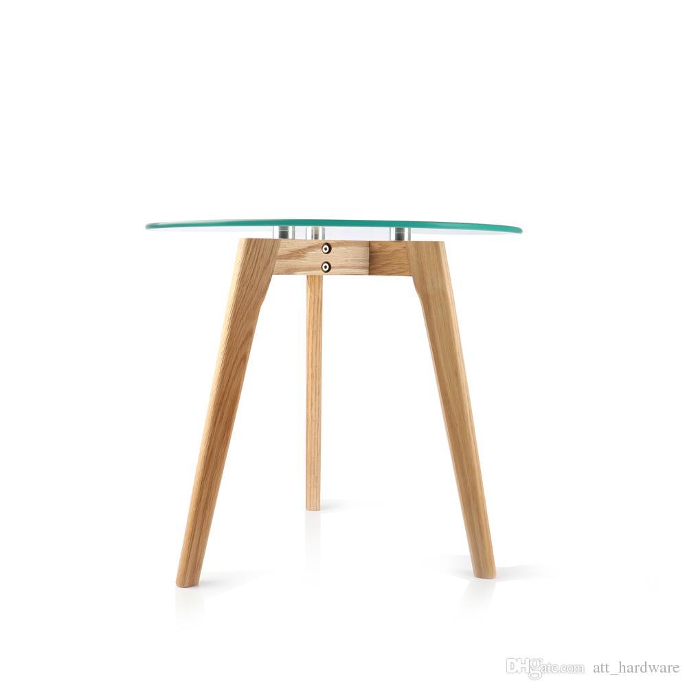 Table En Bois Chene Clair acheter dessus en verre clair jambes en bois de chêne rouge en bois massif  rond table dappoint de sofa de verre trempé table basse de 104,02 € du