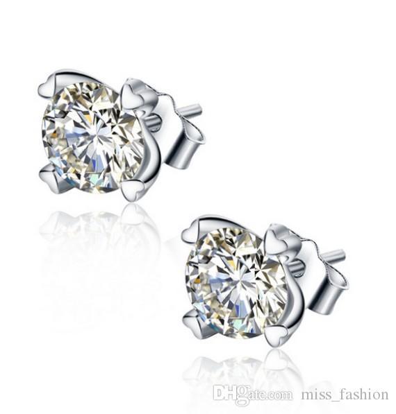 Vrouw zilveren oorbellen items sieraden 4 klauw Zwitserse kristal diamant oorknopjes bruiloft vintage vrouw charms