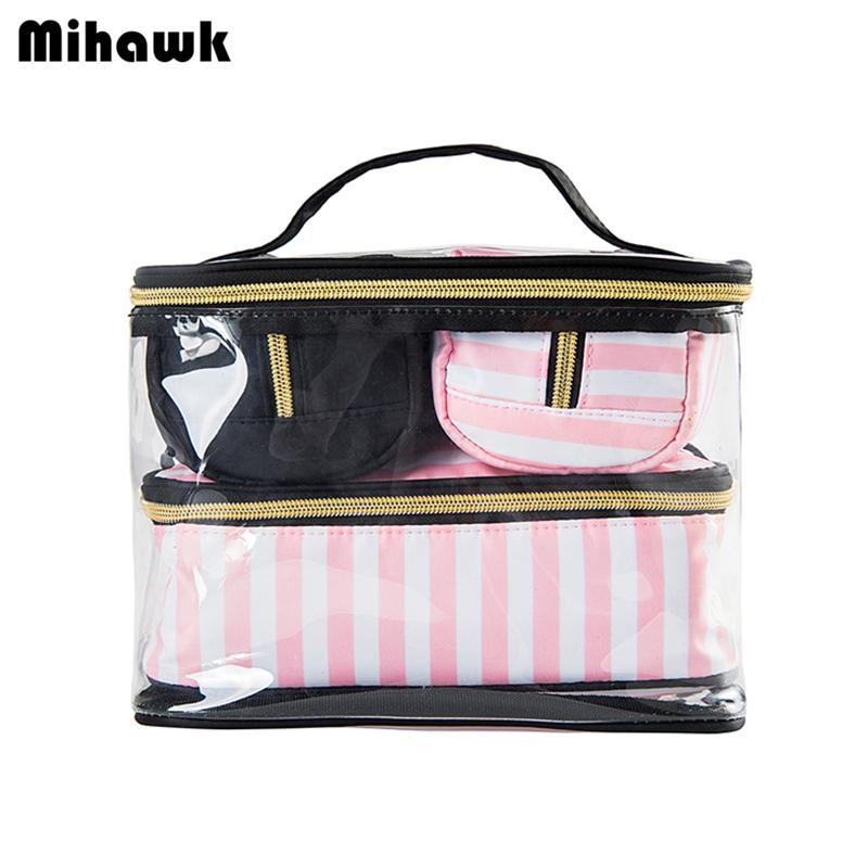 4pcs PVC cosméticos Sacos da senhora portáteis Ferramentas da composição Organizador caso de Higiene Pessoal Bolsa Beleza Travel Bag Acessórios Supplies Produto