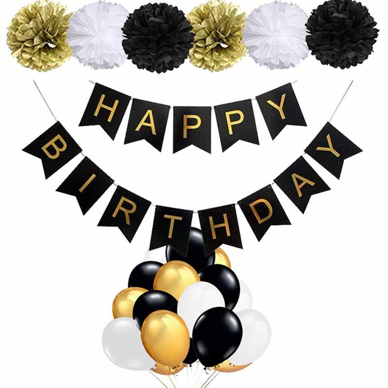 Black Gold Party Decorations Happy Birthday Banner 18th 20th 30th 40th 50th 60th