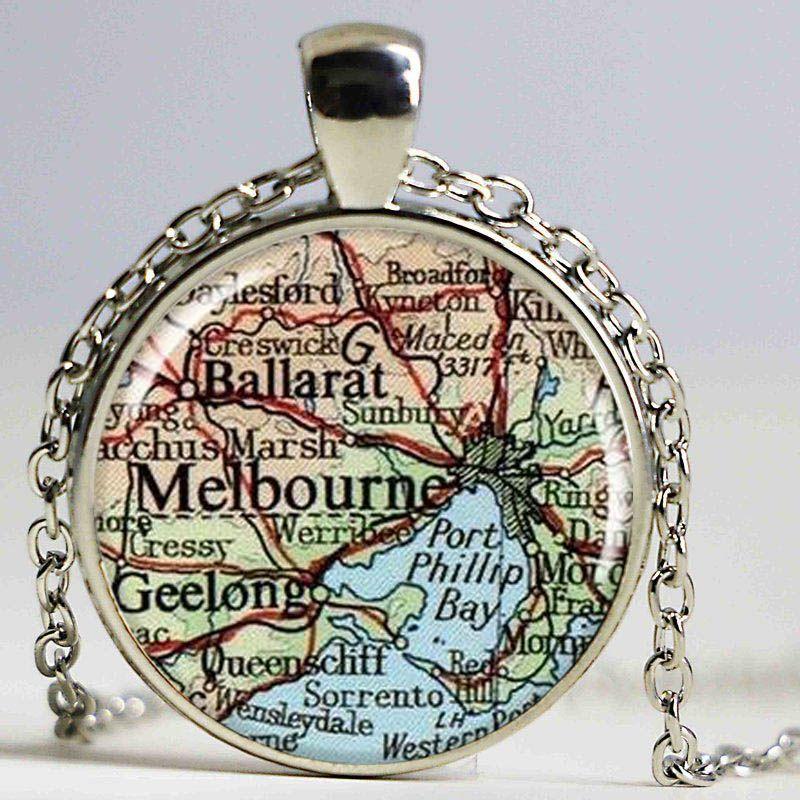 Melbourne Mapa Pendant, Resin Charme, Melbourne Austrália Colar Mapa, presente viagem, Round Prata Mapa Charme