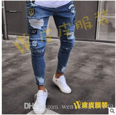 Jeans europei e americani per uomo con bordi incrociati per foro, cerniera, pantaloni mendicanti e jeans scoppiati