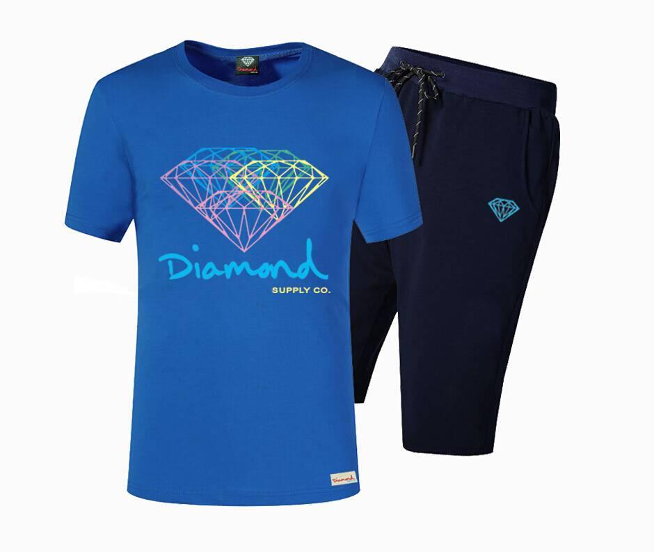 Nouveau été en coton Hommes T-shirts Mode court imprimé Diamond Supply Marque Skate T-shirts Tops Hip Hop Vêtements de sport Z07