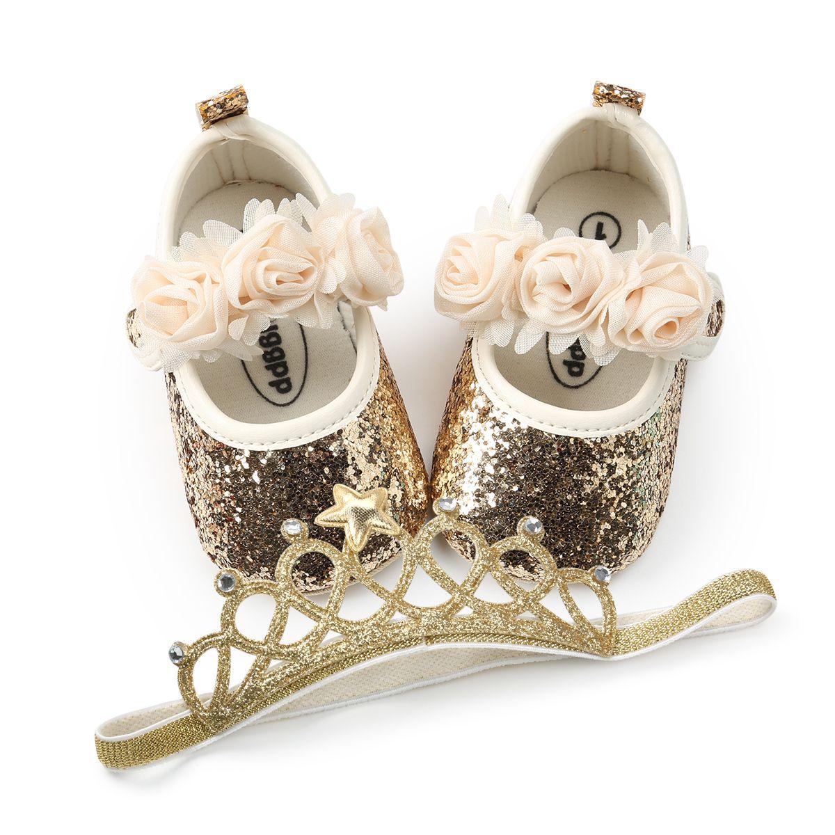 2 Adet / takım Bling PU bebek ayakkabı + Elastik Taç kafa çiçek ilk yürüteç kızlar ayakkabı mary jane parti dekorasyon yumuşak soled