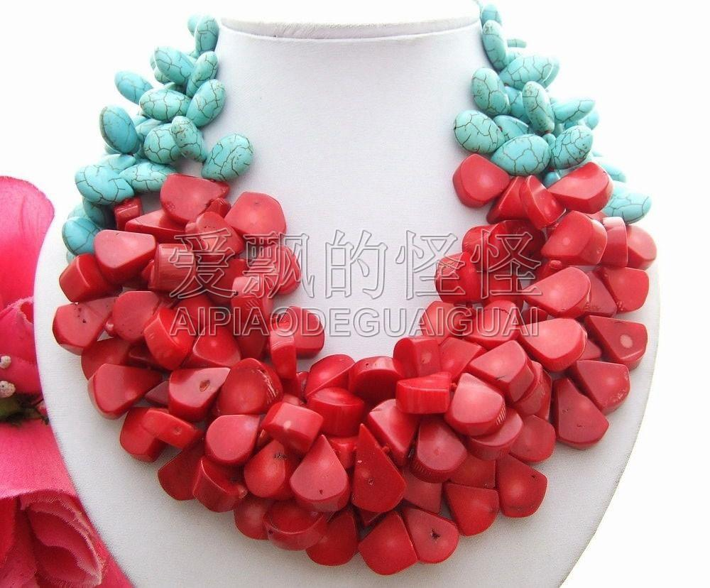 "N092412 19 ""3Strands Coral Necklace"