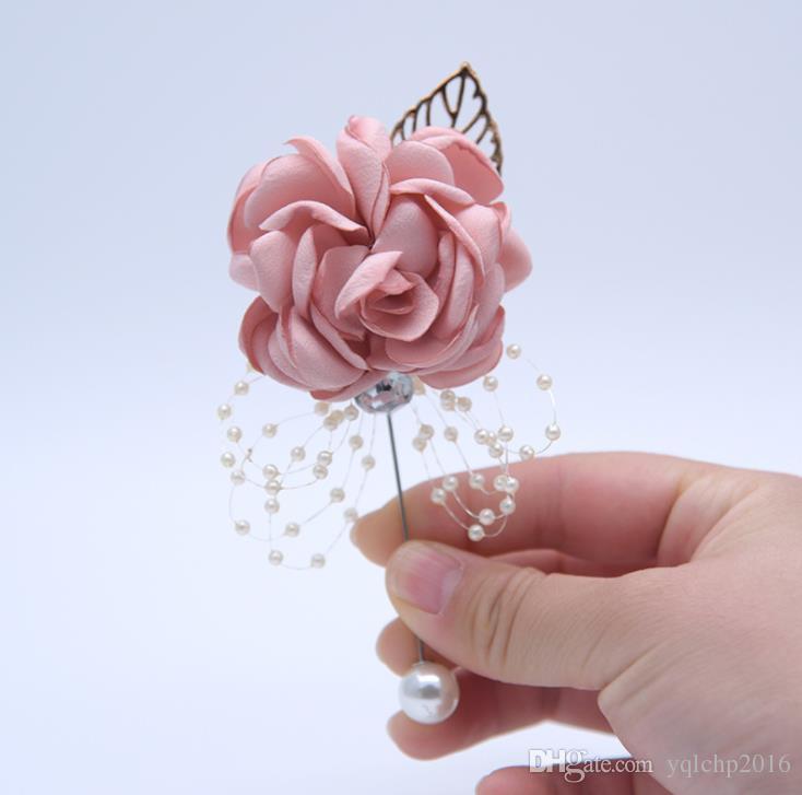 Novia dama de honor hermana grupo muñeca flor broche boda suministros niños danza mano flor decoración