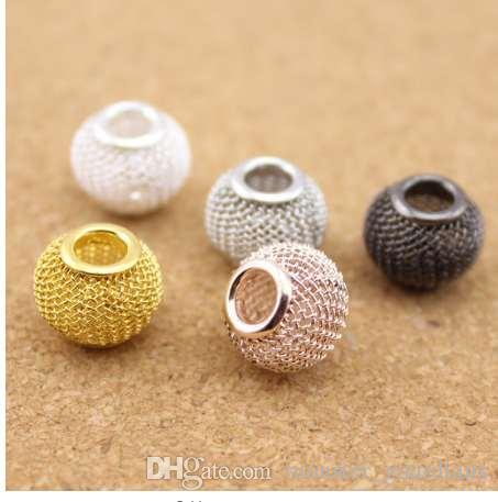 10 pz / lotto Oro / Argento / Oro Rosa / Rhodium / Gunmetal Colore Big Hole Mesh Spacer Beads Adatto Braccialetto Europeo Monili Che Fanno F1143
