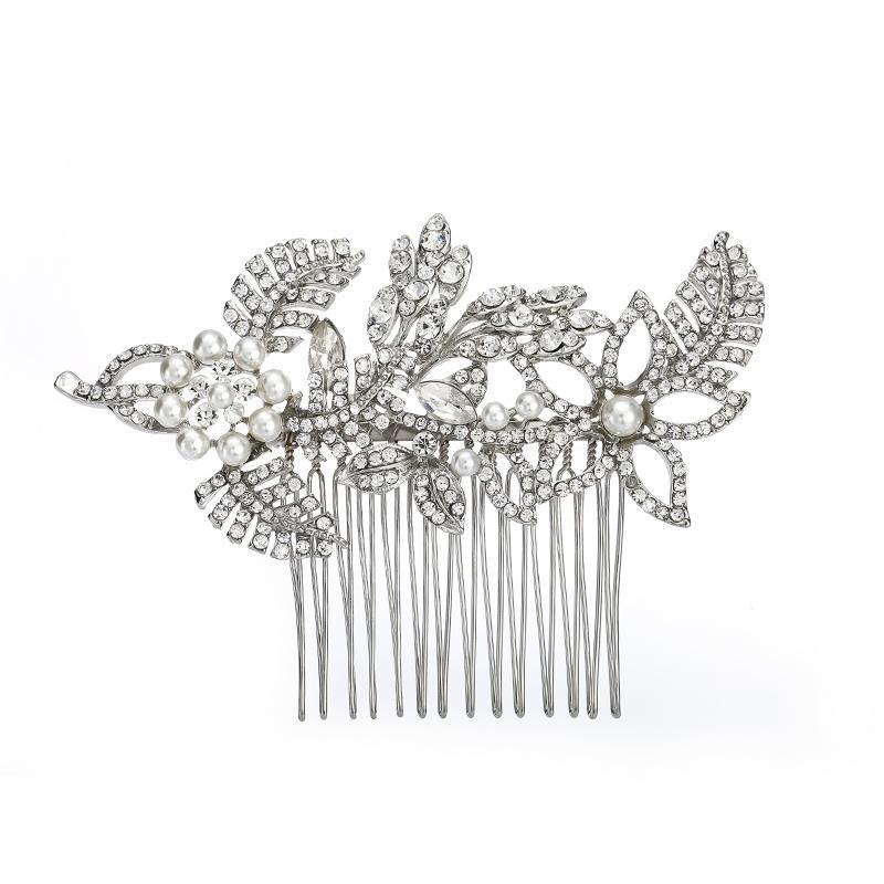 Accessoires De Mariée De Mariage Argent Cristal Strass Fleur Peigne À Cheveux Bijoux Demoiselle D'honneur Femmes Bijoux De Cheveux JCH031