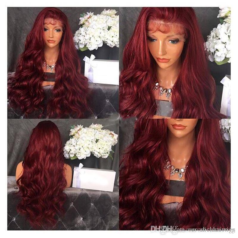Chaud Sexy Bourgogne Vin Rouge Vague De Corps Afro-Américain Perruques Haute Température Fiber De Cheveux Sans Colle Synthétique Lace Front Perruques Avec Des Cheveux