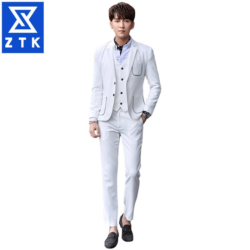 Vestito da tre pezzi professionale da uomo d'affari per il tempo libero, versione coreana di moda da abito da sposa sottile e bello