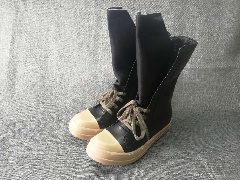 venta de fábrica de lujo superior calidad 2018 nuevo cuero genuino alto superior con cordones botas de suela de goma