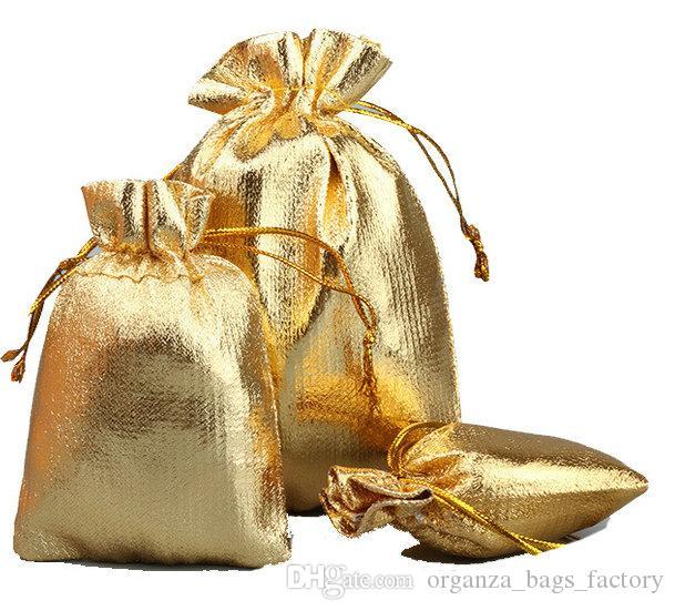 Sacchetti di cordoncino di raso di garza placcato oro 100 PCS Sacchetti di imballaggio di gioielli da sposa 4SIZES, borse regalo bello FABBRICA