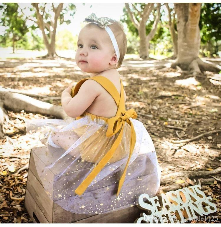 2018 INS 새로 도착한 여름 여자 아기 애들이 등산 장난 꾸러기 노란색과 레이스 패치 워크 장난 꾸러기 아이 여름 장난 꾸러기 캔디 색상 0 - 2T