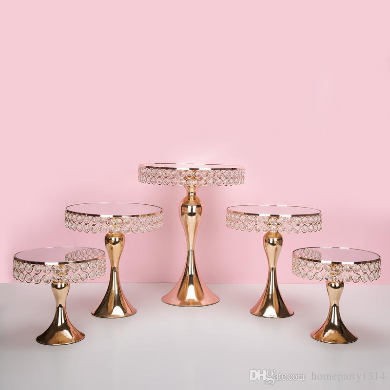 7pcs / set di lusso di cristallo dell'oro basamento supporto della torta torta pan decorata torta nuziale Cupcake tavolo di dolce candy bar centri tavola decorazione
