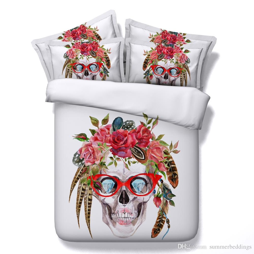 3D diamond eye skull Duvet Cover floral Bedding Sets Human skeleton Bedspreads Holiday Quilt Covers Bed Linen Pillow Covers comforter cover