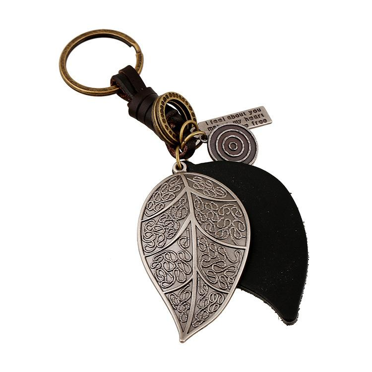 CHAOMO punk jewelry wholesale hand-made alloy leaf leather key chain retro weave men's fashion pendant