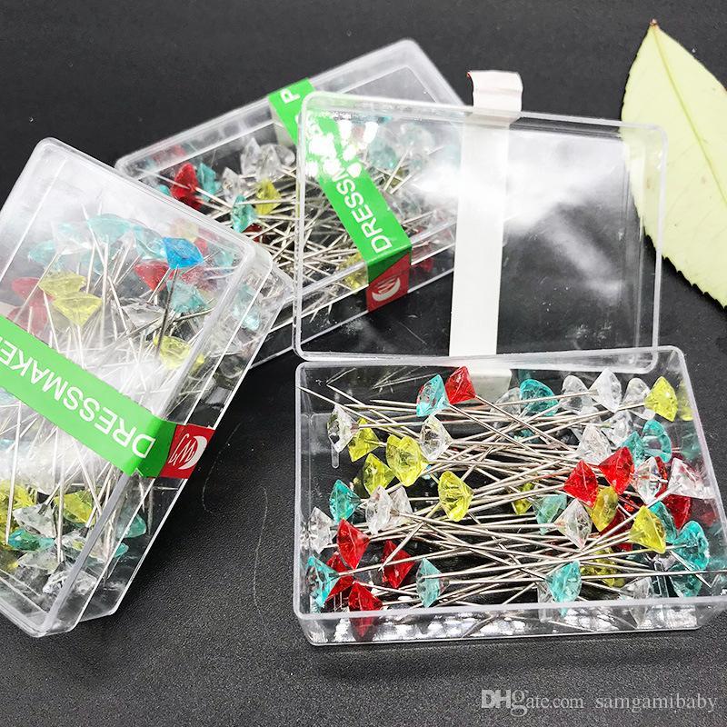 100 قطعة / المجموعة متعدد الألوان الخياطة الحرفية دبابيس رئيس الماس في مربع البلاستيك 2 بوصة شحن مجاني