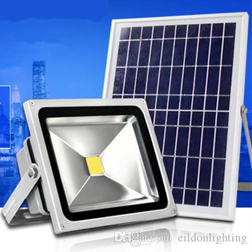 Solar Floodlight 50W 30W 20W 10W 80-90LM Power Cell Panel Charge Battery Outdoor Waterproof Flood Light Industrial Lamps from Shenzhen China
