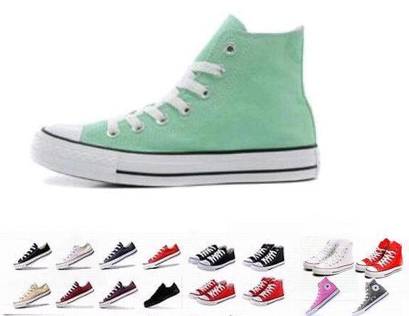 Envío DORP 2018 todo tamaño 35-45 Unisex Hombres Mujeres Zapatos de lona de estilo alto y bajo Clásico Zapatillas de deporte casuales para mujeres, zapatos de tabla