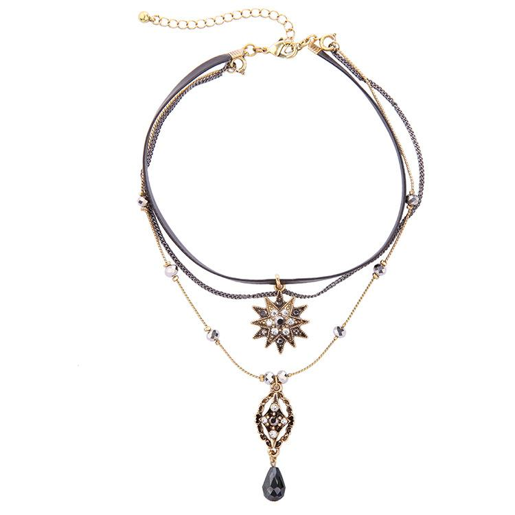 Frauen Schmuck Multi Layer Temperament Stern Wassertropfen Anhänger Halskette Bankett Schmuck Halskette Großhandel