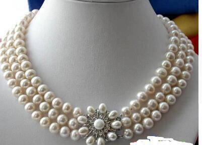 Бесплатная доставка горячей продажи 3ROW 8-9 мм белый круглый FW культивированный жемчуг ожерелье