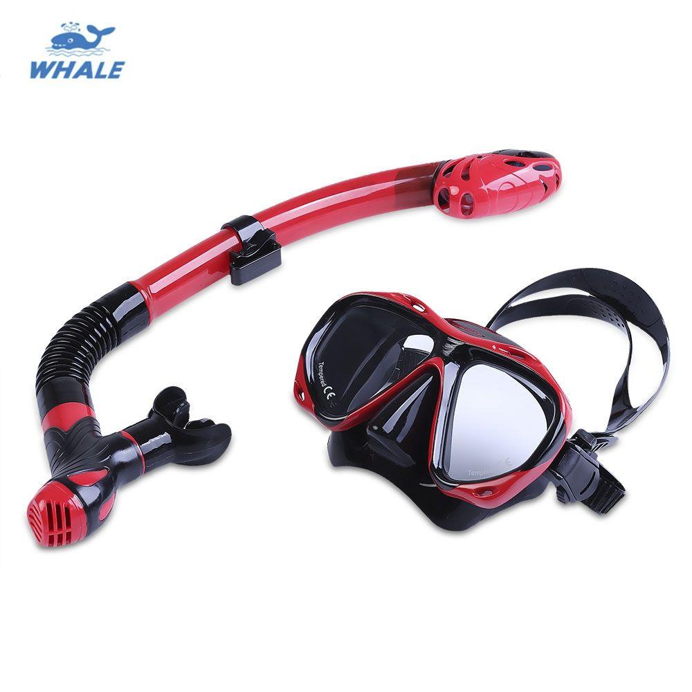 WHALE Profesyonel Dalış Su Sporları Eğitim Dalış Silikon Maske Şnorkel Gözlük Seti Kurutulmuş üst su içine su girişi ortadan kaldırır