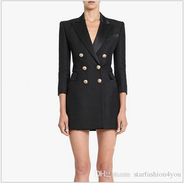 جديد مع العلامة العلامة التجارية B أعلى جودة التصميم الأصلي المرأة أبازيم معدنية مزدوجة الصدر اللباس سليم سبعة كم الربع OL نمط اللباس